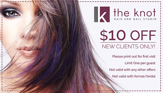 The Knot Salon Coupon Special Highland Village and Keller Texas